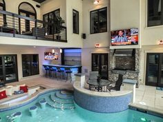 Luxury Swimming Pools, Luxury Pools, Swimming Pool Designs, Pool House Plans, New House Plans, Dream House Plans, Jacuzzi Room, Indoor Jacuzzi, Indoor Pools