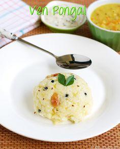 Ven pongal recipe/ Ghee pongal recipe/ Khara pongal recipe - learn how to make ven pongal with tips and tricks to get a perfect texture! Ven Pongal Recipe, Veggie Recipes, Crockpot Recipes, Baking Recipes, Veggie Food, Vegetarian Recipes, North Indian Recipes, Indian Food Recipes