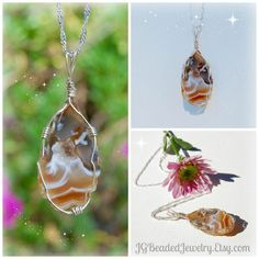 Wire Wrapped Agate Geode Druzy Necklace One of a Kind
