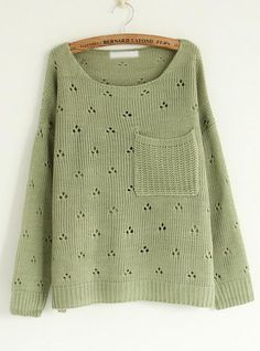 Hollw Out Round Neck Green Sweater with Pocket$42.00