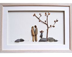 Family of five pebble art Family portrait Gift by PebbleArtDream