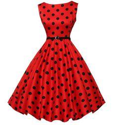 Belted Red Polka Dot Vintage Dress