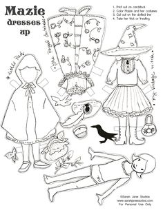 Color me, Dress me up, and take me trick or treating. Halloween paper doll printable« Sarah Jane Studios Blog
