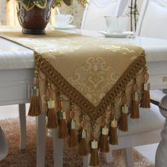 S&V High grade luxury European style table runner Embroidered tablecloths Handmade beaded Silk lace Bed flag Placemat Table Runner And Placemats, Burlap Table Runners, Bed Cover Design, Table Centerpieces, Table Decorations, Lace Bedding, Table Covers, Event Decor, Diy And Crafts