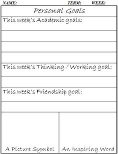 Personal Goals (word doc) We used these last year for students to set weekly goals.  Sheets were  taped to table tops.