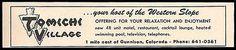 Tomichi Village Motel Ad Gunnison Colorado Pool TV 1964 Roadside Ad Travel