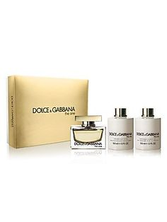 Dolce and Gabbana 3 Piece Set for Women, The One (2.5 Ounce Eau de Parfum Spray, 3.4 Ounce Perfumed Body Lotion...