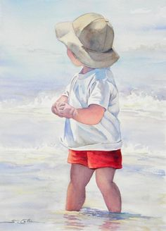 Little Boy in the Surf by Sue Lynn Cotton. A day at the beach. He is so adorable!! I love this watercolor art work. #watercolorarts