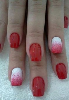 Looks Valentine Nail Art Design This Year 33 - nails glitters - Cute Nails, Pretty Nails, Nail Art Designs, Nails Design, Red Ombre Nails, Pastel Nails, Coral Nails, Acrylic Nails, Valentine Nail Art