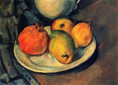 Paul Cezanne  Still life with pomegranate and pears, c. 1885-1890. Private collection.