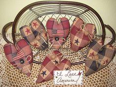 americana patriotic 4th of july decor fabric heart ornaments