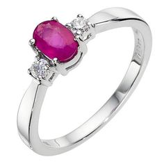 9ct white gold ruby cluster ring - Ernest Jones
