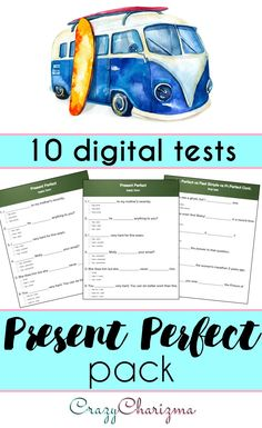 Present Perfect Tense. The pack contains 10 tests on topics: Present Perfect, Present Perfect vs Past Simple, For vs Since, Present Perfect Continuous (Progressive). Each test has 15 questions. Good for revising the topic or practicing new grammar with students during ESL / EFL / ELA lessons. | CrazyCharizma