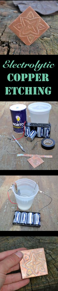 Salt water and batteries the main things you need to try this super cool etching technique!