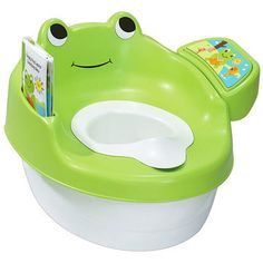 Use all that time waiting for number 2 to help your child become number 1 at reading.                 Potty Praise: Kids will love the cute frog design and the included book and interactive panel that reads a story and encourages their efforts. Parents will love the integrated splash guard, large and easy-to-remove pot, and wipe-able storybook.                 Potty Problem: The audio playback has no stop button or volume control, so you're going to get really tired of it. Plus, the book…