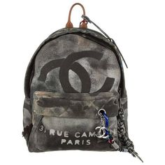 Chanel Graffiti Backpack (€6.580) via Polyvore featuring bags, backpacks, chanel rucksack, day pack backpack, chanel, canvas rucksack en canvas bags