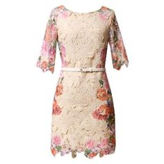 Hollow Flower Print Skinny Lace Apricot Dress | pariscoming