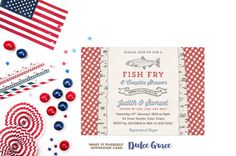 Fish Fry invitation 4th July bbq by DulceGracePrintables on Etsy