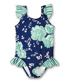 Millie Loves Lily Navy & Mint Floral Ruffle-Accent One-Piece - Infant, Toddler & Girls Newborn Outfits, Toddler Outfits, Kids Outfits, Baby Girl Toys, Little Baby Girl, Toddler Girl Bathing Suit, Kids Girls, Toddler Girls, Baby Girls