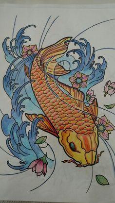 Carpa colorida com lápis de cor. Desenhos antiestress. Desenhos para adultos colorirem.