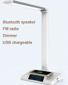 LED desk lamp with bluetooth speaker LED desk light with bluetooth speaker  touch sensor FM radio dimming color color black white clock SD and USB card wireless and USB for charge 1.5A for all smart phone AC adpater input 100-240V out put DC 12V 2A Email: sales@yude-group.com