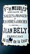 Plaque émaillée Fabrique de Meubles Jean BELY / Loft / Vintage / Indus