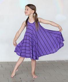 Another great find on #zulily! Purple & Black Stripe Twirl Dress - Girls #zulilyfinds