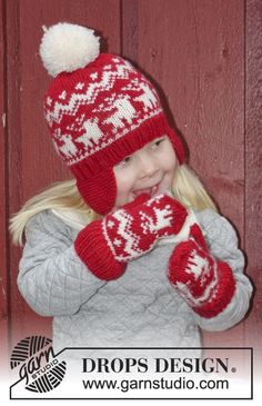 What do you think of this cute hat with ear flaps, mittens and neck warmer with a pretty #Christmas motive for the kids? Pattern available for free at the #DROPSChristmasCalendar!