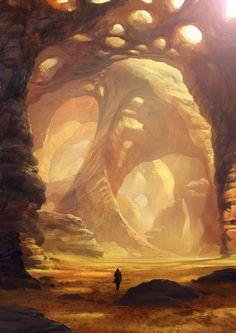 New Ideas for landscape concept art caves Landscape Concept, Fantasy Landscape, Landscape Art, Desert Landscape, Environment Concept, Environment Design, Fantasy Places, Fantasy World, Drawn Art