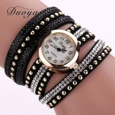 Duoya Lady Brand Leather Bracelet Watch Luxury Women Dress Watch Women Fashion Wristwatch Clock Hours Vintage Quartz Watch XR747