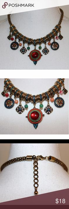 "Gorgeous Statement Necklace This statement necklace is so colorful and fun! The flowers and designs are made of beads and rhinestones, and the chain is made of gold plated alloy metals. It measures 16.5"" plus has  a 2"" extender. It is brand new without tags. Jewelry Necklaces"