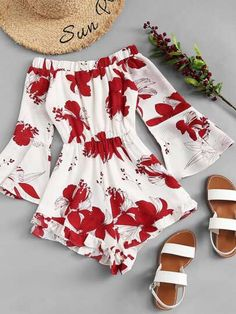 Shop Off Shoulder Floral Print Flounce Sleeve Jumpsuit online. SheIn offers Off Shoulder Floral Print Flounce Sleeve Jumpsuit & more to fit your fashionable needs. Teen Fashion Outfits, Outfits For Teens, Trendy Outfits, Girl Fashion, Girl Outfits, Fashion Dresses, Fashion Styles, Womens Fashion, Emo Outfits