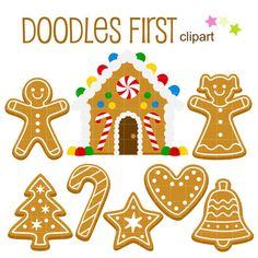 Gingerbread House and Cookies Digital Clip Art for Scrapbooking Card Making Cupcake Toppers Paper Crafts