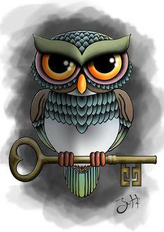 Owl - Tattoo flash by jHultdin Owl Feather Tattoos, Baby Owl Tattoos, Lechuza Tattoo, Cartoon Charecters, Cute Owls Wallpaper, Steampunk Animals, Owl Rocks, Harry Potter Owl, Owl Classroom