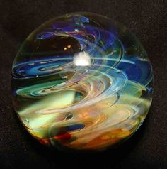"kc boro glass marble fumed twister mystic wind 1 1/8"""