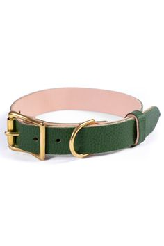 Green Leather Dog Collar, Personalized Collar, FREE ID TAG, Solid Brass Hardware Leather Dog Collars, Cat Collars, Free Id, Id Tag, Dog Names, Personalized Dog Collars, Leather Apron, Brass Buckle, Two By Two