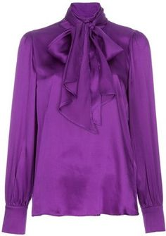 ShopStyle: True Royal Silk pussy bow blouse