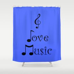 I Love Music - Beatbox Blue Shower Curtain #showercurtain #music #beatbox #blue #society6