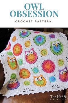 Cute Owl Blanket Crochet Pattern. #crochet #affiliate #crocheting