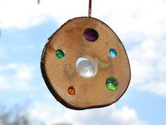 Gartendekoration - Glasstein Holz Sonnenfänger Bergkristall 11 cm - ein Designerstück von Tannwicht bei DaWanda