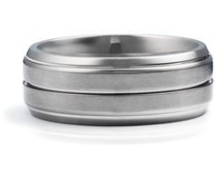 Grooved Comfort Fit Wedding Ring in Titanium #BlueNile    Simple and perfect for a Mason man.