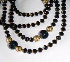 """Black crystal necklace, sparkling jet black crystal beads 37.1/2"""" long (95cm)"""