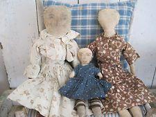19th Century Early Primitive Cloth RAG DOLL Orig. Brown Calico Dress AAFA