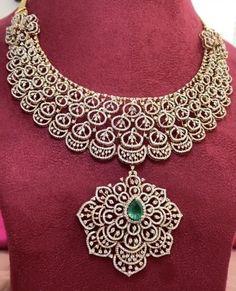 Jewellery Designs, Necklace Designs, Indian Gowns Dresses, Gold Choker Necklace, Emerald Diamond, Diamond Jewellery, Motifs, Wedding Jewelry, Teeth