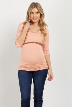 Peach Belted 3/4 Sleeve Maternity Top