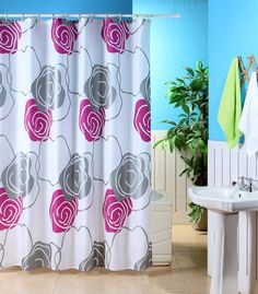 Metallic Flower Fun Shower Curtains ~ http://topdesignset.com/fun-shower-curtains-for-your-bathroom/