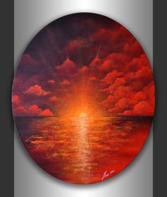 Original Contemporary Modern Landscape Artwork Acrylic Abstract Seascape Painting on 24x20 Ready to hang Oval Canvas Home Office Wall Art