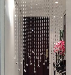 """Trippy Door Beads — Design Roni Young from """"The Superior and Lovely Concepts of beaded door curtains"""" Pictures Beaded Door Curtains, Crystal Curtains, Hanging Curtains, Diy Curtains, Window Curtains, Curtain Door, Curtain Divider, Glass Curtain, Decorative Curtains"""