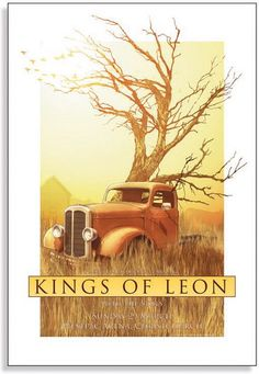 The Kings of Leon Concert Poster  at the Westgpac Arena- Christchurch- New Zealand  March 2009  printed on nice heavy paper stock  poster measures 18.25 inches x 26.75 inches   limited edition  artist:  Joe Whyte