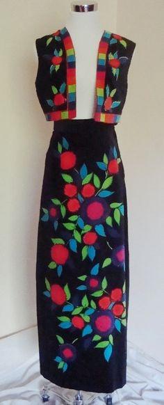 60s Mr. Dino Signature Bold Fruit  Floral on Velvet Vest & Maxi Skirt